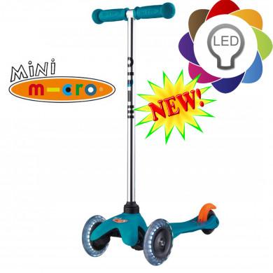 Mini Micro Led aqua (Мини Микро Лед аква) трехколесный самокат со светящимися колесами