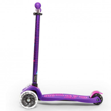 Детский трехколесный самокат Maxi Micro Deluxe LED purple (сиреневый) со светящимися колесами