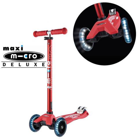 Детский трехколесный самокат Maxi Micro Deluxe LED red (красный) со светящимися колесами