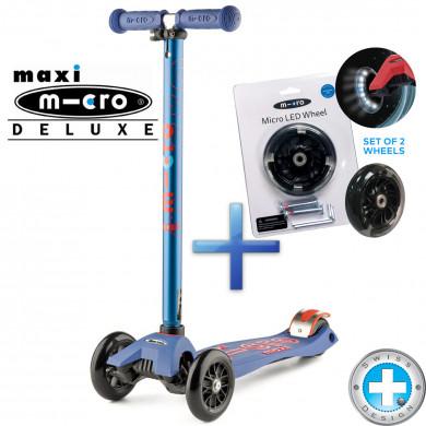 Комплект самокат Maxi Micro Deluxe blue + cветящиеся колеса Micro Led для самокатов Maxi Micro