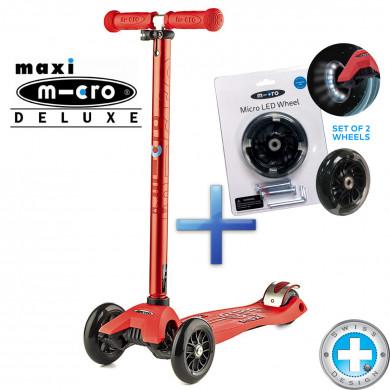 Комплект самокат Maxi Micro Deluxe red + cветящиеся колеса Micro Led для самокатов Maxi Micro