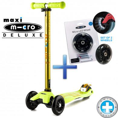 Комплект самокат Maxi Micro Deluxe yellow + cветящиеся колеса Micro Led для самокатов Maxi Micro