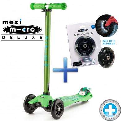 Комплект самокат Maxi Micro Deluxe green + светящиеся колеса Micro Led для самокатов Maxi Micro