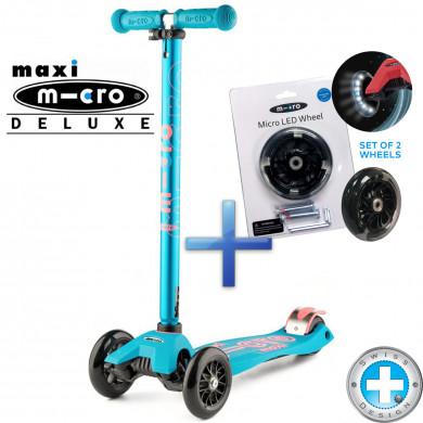Самокат Maxi Micro Deluxe aqua + Набор светящихся колес Micro Led для самокатов Maxi Micro