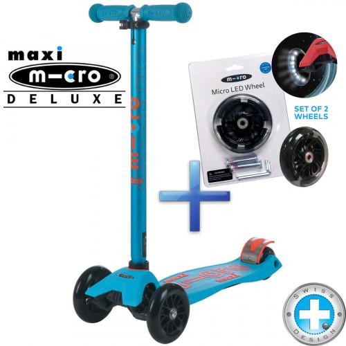 Самокат Maxi Micro Deluxe Caribbean blue + Набор светящихся колес Micro Led для самокатов Maxi Micro