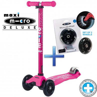Самокат Maxi Micro Deluxe Shocking pink + Набор светящихся колес Micro Led для самокатов Maxi Micro
