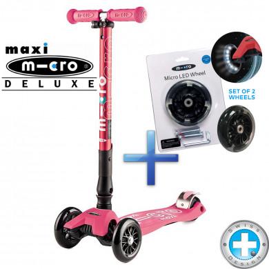 Складной самокат Maxi Micro Deluxe coral  + Набор светящихся колес Micro Led для самокатов Maxi Micro