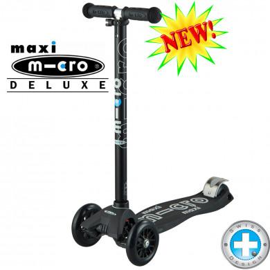 Maxi Micro Deluxe black-grey (Макси Микро Делюкс серый) трехколесный самокат