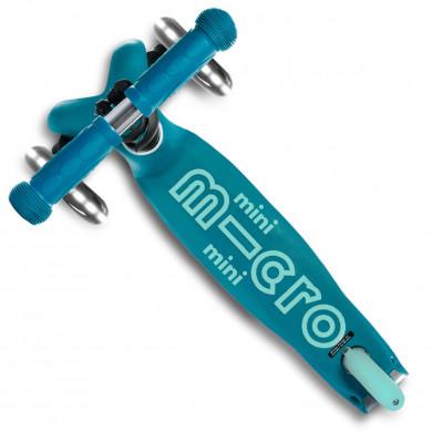 Трехколесный самокат Mini Micro Deluxe Led aqua (аква) со светящимися колесами