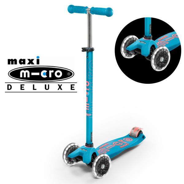 Детский трехколесный самокат Maxi Micro Deluxe LED aqua (аква) со светящимися колесами