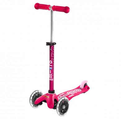 Трехколесный самокат Mini Micro Deluxe Led pink (розовый) со светящимися колесами