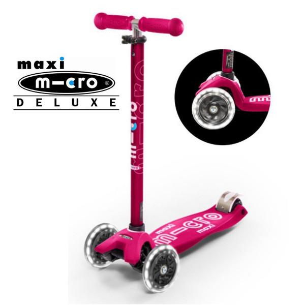Детский трехколесный самокат Maxi Micro Deluxe LED pink (розовый) со светящимися колесами