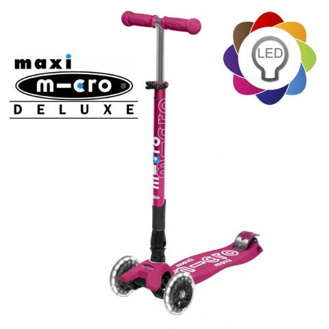 Детский трехколесный самокат Maxi Micro Deluxe LED berry (ягодный) складной со светящимися колесами