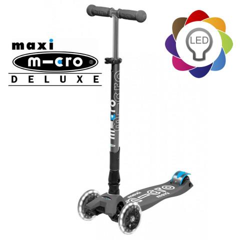 Детский трехколесный самокат Maxi Micro Deluxe LED grey (серый) складной со светящимися колесами