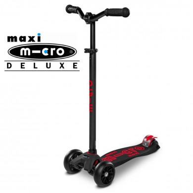 Детский трехколесный самокат Maxi Micro Deluxe Pro black-red (черно-красный)