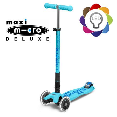 Детский трехколесный самокат Maxi Micro Deluxe LED light blue (голубой) складной со светящимися колесами