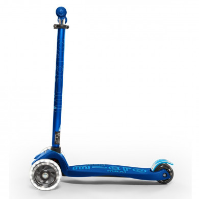 Детский трехколесный самокат Maxi Micro Deluxe LED Navy blue (темно-синий) со светящимися колесами