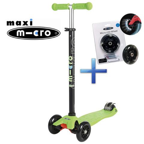 Самокат Maxi Micro T-Tube lemon green + Набор светящихся колес Micro Led для самокатов Maxi Micro